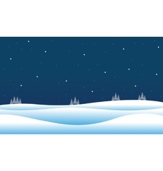 Silhouette of christmas hill winter vector