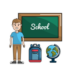 student with board backpack and earth planet desk vector image vector image
