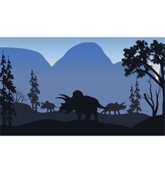 triceratops of silhouette in hills vector image vector image