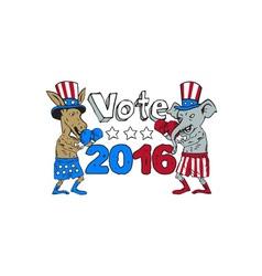 Vote 2016 Donkey Boxer and Elephant Mascot Cartoon vector image vector image