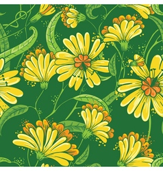 Abstract seamless floral pattern in a doodle style vector image