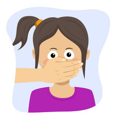 Adult man hand covering mouth girl vector