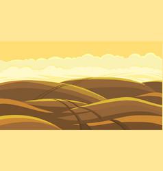 Arable field landscape plowed tillage brown dirt vector