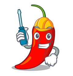 automotive red chili pepper isolated on mascot vector image