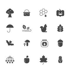 autumn symbols monochrome icons set of vector image