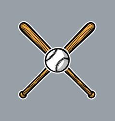 Baseball bat cross with ball logo icon asset vector