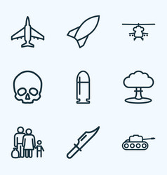 battle icons line style set with fighter knife vector image