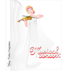 Beautiful girl playing violin book cover for kids vector