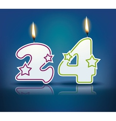Birthday candle number 24 vector image