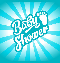 blue baby foot baby shower invite greeting card vector image