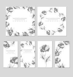 botanical card with wild flowers and leaves vector image