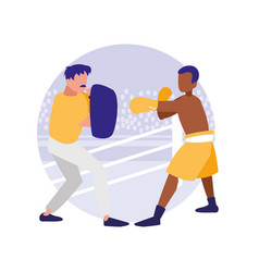 Boxer and sparring training avatars characters vector