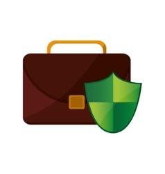 Briefcase and shield icon vector