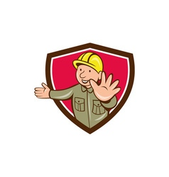 Builder Hand Stop Signal Crest Cartoon vector