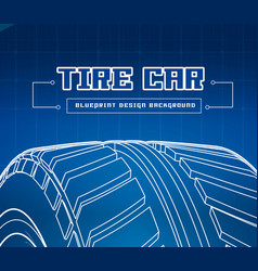car tire with tire marks on a blue background vector image