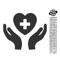cardiology care hands icon with professional bonus vector image