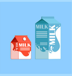Carton boxes of milk fresh and healthy dairy vector