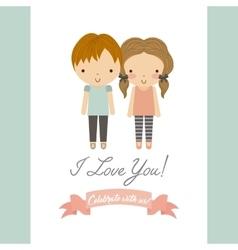 Cartoon couple icon Save the date design vector