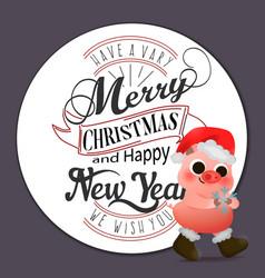 cartoon cute piggy in santa hat greeting card vector image