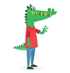 Cartoon funny and happy crocodile wearing modern vector