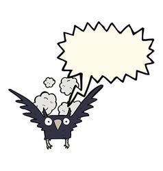 Cartoon spooky bird with speech bubble vector