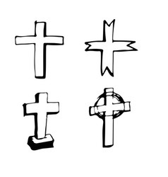 christian cross sign hand draw doodle design vector image