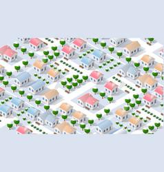 Christmas city isometric urban winter quarter in vector