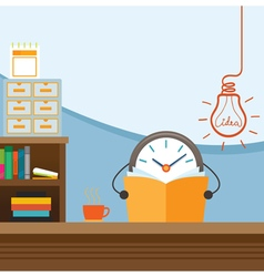 Clock Character Work and Reading for Ideas vector image