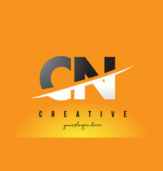 Cn c n letter modern logo design with yellow vector