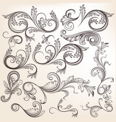 collection hand drawn swirl ornaments vector image