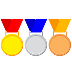 colorful winner medal gold silver bronze icon set vector image