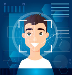 Concept biometric scanning man s face digital vector