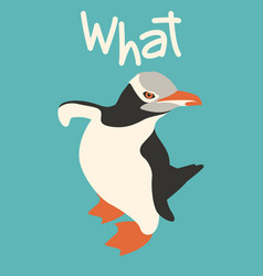 cool penguin flat style front vector image
