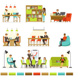 coworking workplace freelancers sharing space and vector image