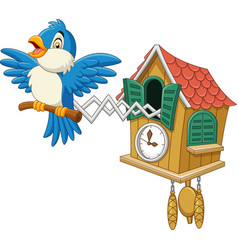 Cuckoo clock with blue bird chirping vector