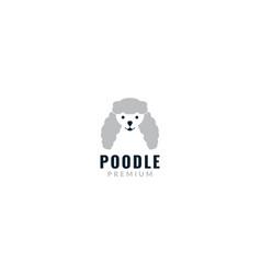 Cute face head poodle dog smile logo design vector