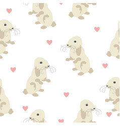 Cute seamless pattern with bunny on back feet and vector