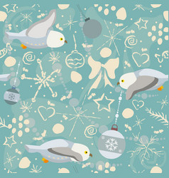 cute seamless winter pattern with owls and winter vector image