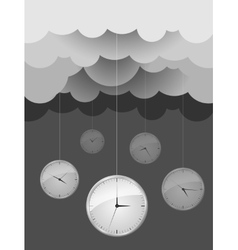 Dark gray clouds and clocks design idea vector image