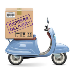 delivery scooter with carton box vector image
