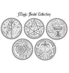 Design set with black and white magic seals vector