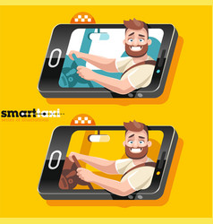 driver car smiles from smartphone vector image