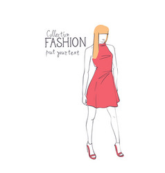 Fashion collection of clothes female model wearing vector