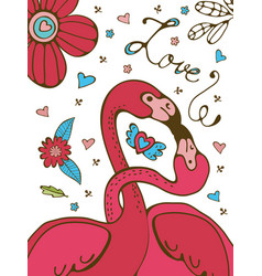 Flamingo couple kissing romantic poster vector