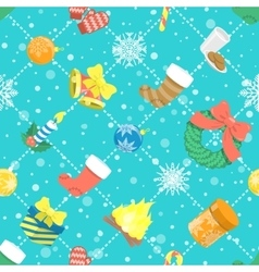 Flat colorful christmas icons seamless pattern vector