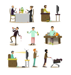 Flat icons of bad habits people set vector