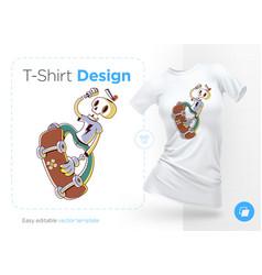 funny skeleton skater print on t-shirts vector image