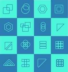 Geometric flat icon logo set vector image