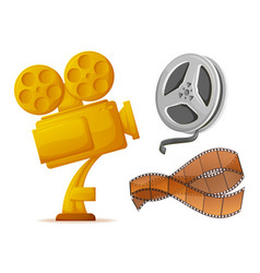 Gold camera award for movie winner prize reel vector