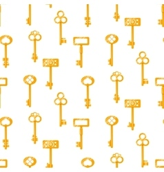 Gold keys seamless pattern on white vector image